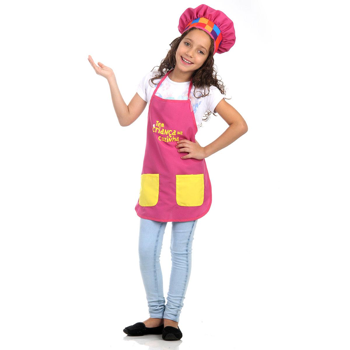Fantasia Tem Crian A Na Cozinha Avental Rosa Artigos Para Festas