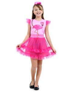 Fantasia Flamingo Infantil Faces Luxo